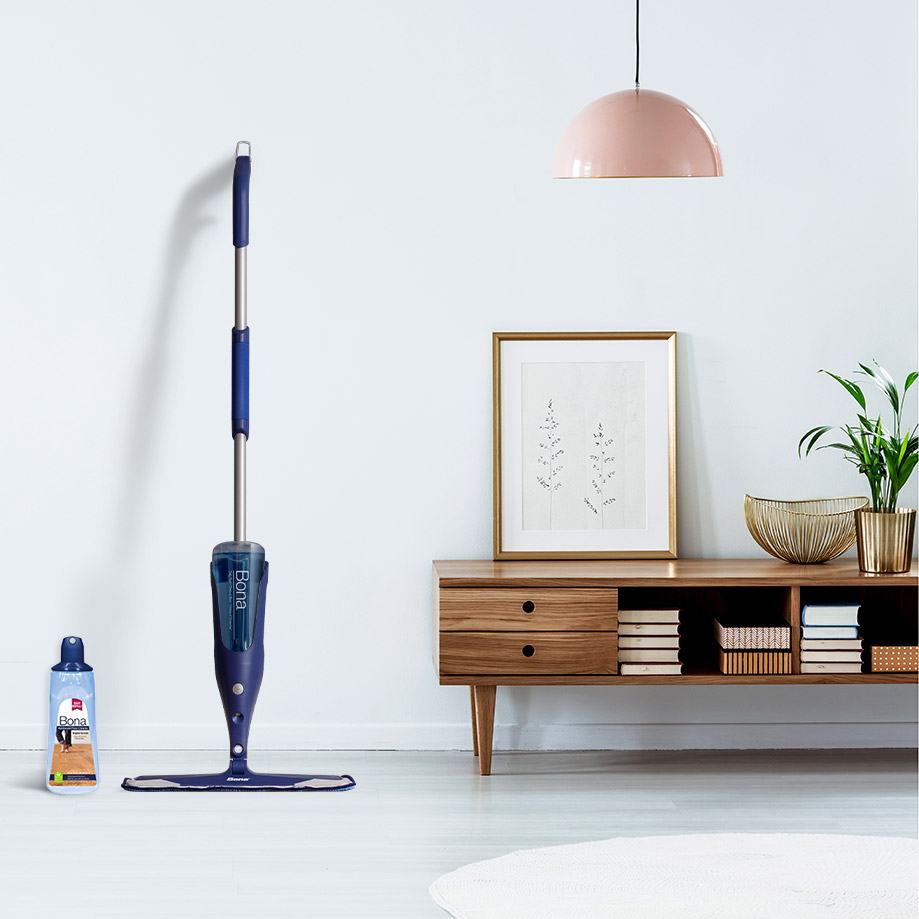 <p>Use a spray mop cleaner designed for your floor type. Avoid DIY vinegar solutions or steaming your floors since they both can damage your floor&rsquo;s finish, leaving it look dull and cloudy. Avoid using an excess amount of liquid on your floors.</p><br/>